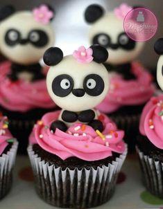 Panda Cupcakes -- with cute panda, pink icing and pink flower Panda Cupcakes, Cookies Cupcake, Animal Cupcakes, Cupcake Toppers, Oreo Cupcakes, Fondant Cupcakes, Cupcakes Design, Cupcakes Cool, Beautiful Cupcakes