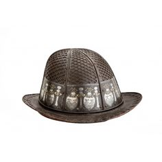 """A Japanese helmet, of the Namban Kabuto type, in the form of a """"Portuguese Hat"""". Japan, circa 'Namban' refers to art or objects made in Japan after they first began dealing with the Portuguese. 'Kabuto' means helmet. Samurai Weapons, Samurai Armor, Arm Armor, Collections D'objets, Armor For Sale, Helmet Head, Medieval Armor, Military Equipment, Ancient Art"""