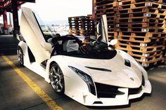 Один из двух последних кроме того, veneno родстер демонстрирует очень специальный белый корпус и хромированные колеса