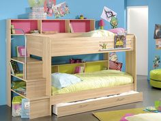Etagenbett, Hochbett Twin 1, Bettkasten, 245x171x114cm Kernbuche-Nb, Kinderbett | eBay