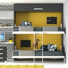 Litera con camas abatibles. Composición 26 del catálogo de dormitorios juveniles modernos Infinity de Muebles JJP. #literas