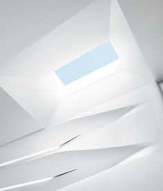"All Together Now The overhead skylight, finished in matte, provides a visual flurry. ""It's kind of a melting design that comes from above and goes down the shelves,"" says architect Erich Schoenenberger of su11 architecture + design. Photo by: David Allee"