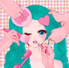 Kawaii illustration #art #illustration #pink #kawaii #cute