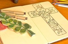 Floral Cross Journal Drawing