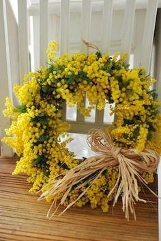 日曜日はミモザの日♪ : 花のun deux trois Wreaths And Garlands, Fall Wreaths, Green Flowers, Yellow Flowers, Yellow Bouquets, Yellow Cottage, Mimosas, Flower Boxes, Mellow Yellow