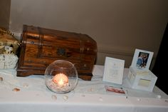Present table with Treasure Chest for cards/money and address box for well wishes