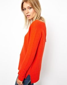 Image 1 of ASOS Ribbed V Neck Sweater In Lambswool