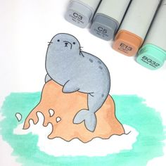 Here is a kawaii seal for you from the We Bare Bears episode Bear Cleanse 💕 and because I saw some cute seals yesterday 😍 Marker Kunst, Copic Marker Art, Copic Art, Kawaii Doodles, Kawaii Art, Kawaii Drawings, Easy Drawings, We Bare Bears Episodes, Doodle Art