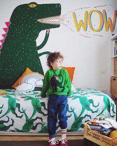kids fashion, kids interior design, kids interiors, kids room, mini rodini, murals, dinosaurs Nursery Design, Fashion Kids, Nurseries, Kids Rooms, Dinosaurs, Outdoor Activities, Murals, Baby Kids, Dinosaur Stuffed Animal