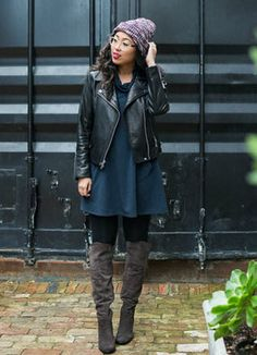 Chanda from @pancake_stacker layers a leather jacket over her Pure Jill  soft cowl dress.