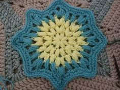 Moon Star Motif -- I think this would make a wonderful afghan -- just join two points from one star to two points on another.  I'm imagining it would have almost a double wedding ring effect where they meet.