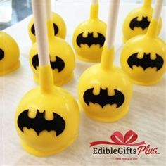 Batman Cake Pops - Box of 12 - Our Batman Cake Pops are perfect for Birthdays! Created by mixing a fresh cake with buttercream then dipping each into gourmet chocolate. The cake pop has a hard chocolate shell with very moist cake inside--similar to a rich brownie or cookie dough. Perfect for Birthday Party Cake or baby shower favors!