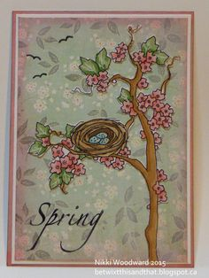 """ATC featuring Nest in the Cherry Tree by A Day for Daisies, for Wicked Wednesday ATC challenge blog """"Spring is in the Air"""""""