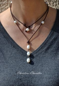 Leather and Pearl Necklace - Long or Short Leather Necklace - Wrap for shorter Necklace - 34 inch Long Necklace - Leather and Pearl Jewelry Long Pearl Necklaces, Short Necklace, Pearl Jewelry, Wire Jewelry, Boho Jewelry, Jewelry Crafts, Beaded Jewelry, Jewelery, Jewelry Necklaces