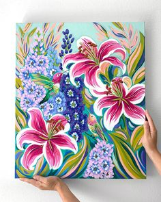 Tulip Painting, Spring Painting, Acrylic Painting Canvas, Diy Painting, Painting & Drawing, Canvas Art, Floral Artwork, Art Floral, Painting Inspiration