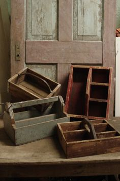 Wooden boxes....go crazy!!!!    :)  We need to get Larry going on these!