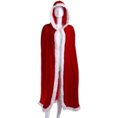 WEHOPS Christmas Cloak Santa Velvet Hooded Red Cape Cosplay Costume... ($12) ❤ liked on Polyvore featuring costumes, red halloween costumes, role play costumes, cosplay costumes, christmas costumes and christmas halloween costume