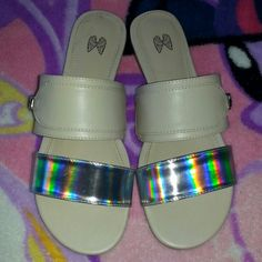 """Holographic Sandals by Victoria's Secret Worn once briefly, look brand-new! No scuffs. They will be shipped in original box same or next day of purchase bought these babies for full price but I really have too many shoes! Thought id share the love :) first picture is with flash, second is without.  All orders ship same or next day NO Trades/Paypal/Mercari Bundles are always discounted """"Offer"""" button offers welcome and encouraged!  Any questions, just ask me! HAPPY POSHING ❤ Victoria's…"""