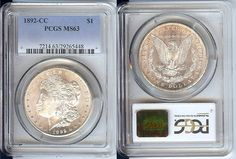 1892-CC $1 SILVER MORGAN DOLLAR COIN NGC MS63 UNCIRCULATED CERTIFIED