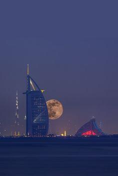 Moon over Dubai, UAE, by Nicole Luettecke, on 500px.