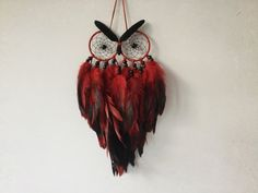 Made to Order Poppy Multi Feather Owl Dreamcatcher This is my beautiful Poppy Owl, created in the colours of a Poppy flower, which can be
