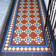 Photos featuring our design, consultation and sheeted tile supply. Victorian, Edwardian, Georgian and contemporary ceramic tile designs. Hall Tiles, Tiled Hallway, Ceramic Floor Tiles, Tile Floor, Tiles London, Porch Tile, Outdoor Tiles, Tile Installation, Contemporary Ceramics