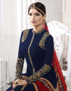 Blue color embroidered georgette straight suit