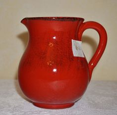 NWT ~ RUSTIC TERRACOTTA PITCHER ~ MADE in ITALY~ Red w/ Black  16 oz / 1 pint