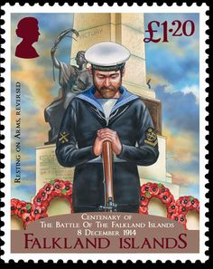 Sello: Anniversary - Battle of the Falkland Islands (Malvinas Islas) (Battle of Falklands) Sg:FK 1303 Crown Colony, British Overseas Territories, Country Names, King And Country, Royal Navy, British History, Stamp Collecting, Postage Stamps, Great Britain