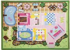 """Girl Dollhouse Play Rug - 40"""" X 54"""""""
