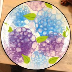 Bubble hydrangea Plate I made for Paint a Piece's Creative Crew Club in March