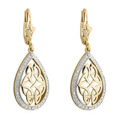 Choosing these exquisite earrings, crafted by Solvar from yellow and white gold, is a choice for luxurious jewellery infused with Irish design inspiration. Irish Design, Trinity Knot, Luxury Jewelry, White Gold Diamonds, Fields, Celtic, Knots, Jewellery, Drop Earrings