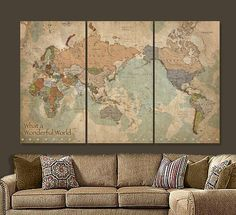 Map of the World on CANVAS with Current Countries (non-traditional version with Africa on Left), Gallery Wrapped Canvas makes a statement on any home or office wall. Beautiful vintage earth-toned canvas set will blend with most decors. Size shown in main photo is more than 6 feet wide