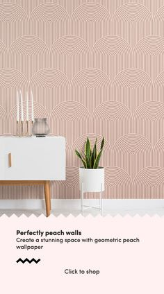Introduce a cool geometric design that will create an interesting feature wall, with this nude circuit design wallpaper. Striped Wallpaper, Pink Wallpaper Bedroom, Peach Living Rooms, Accent Walls In Living Room, Feature Wall Wallpaper, Peach Wallpaper, Nursery Accent Wall, Pink Wallpaper Living Room, Nurse Office Decor