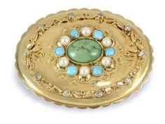 Großer Biedermeieranhänger/Brosche mit Perlen, Türkisen und Diamanten ,