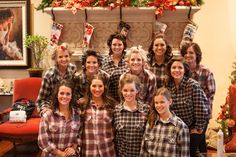 Plaid shirts for the girls with monograms You can find affordable flannel packages for sale at The Bearded Bee: https://www.etsy.com/listing/219022763/wedding-flannels-for-bridesmaids-custom