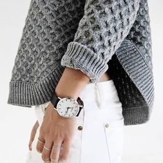 white denim + gray knit