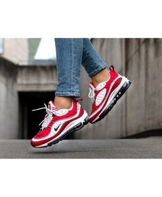 cheaper 660dc 363e1 Nike Air Max 98 Femme Chaussures Rouge Blanc