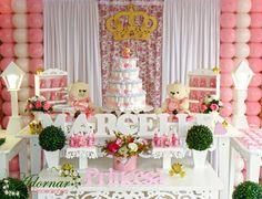Aluguel decoração chá de bebê tema princesa ursa rosa e branco em provençal. Decorações de primeira classe, locação de móveis provençais e serviços ...
