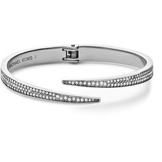 Michael Kors  Pave Hinge Open Cuff ($155) ❤ liked on Polyvore featuring jewelry, bracelets, silver, clear bracelet, pave bangle, pave bracelet, steel bracelet and cuff bracelet