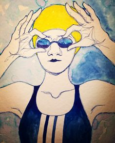 The drawing describes well the mood at the beginning of a new year. Make the best of it   #newyear #2018  #day1 #dive #newgoals #illustration #diveinthepool #diveinthenewyear