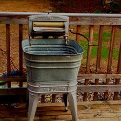 "My ""new"" tub for an ice bucket or a planter. Loving the antique shopping season all ready!"