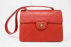 ea18d446f1dadd Rare Vintage CHANEL Red Caviar Leather Flap Bag at Rice and Beans Vintage  Burberry Handbags,