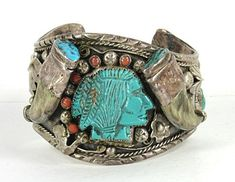 Vintage Sterling Silver Turquoise Coral Claw Indian Chief bracelet