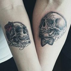 Skull Couple Tattoo, Evil Skull Tattoo, Couple Tattoos Love, Sugar Skull Tattoos, Sugar Skulls, Sweet Tattoos, Unique Tattoos, Beautiful Tattoos, Finger Tattoos