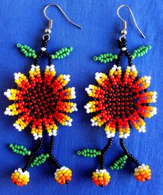 Mexican Huichol Beaded flower earrings by Aramara on Etsy, $8.75