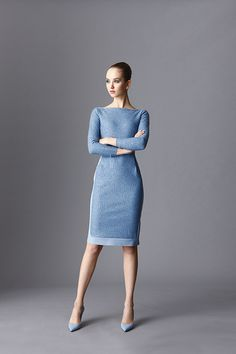 Darna Cozy Dress :: Stretch jersey and knitted wool and sequins combination cocktail dress. Plain, boat neckline, long sleeves, raw edge hem for ease of tailoring, will...