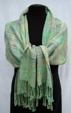 Handwoven   Green Shawl /  Wrap /  Scarf OOAK by PenelopeNow, $200.00