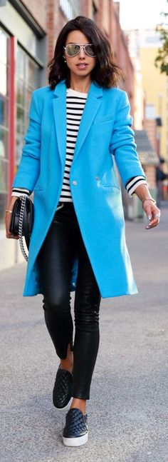 Klein Blue Street Chic Coat by Vivaluxury