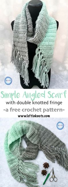 The Mint-cicle Scarf is a free, beginner-friendly crochet pattern with a modern twist. It takes just one skein of Lion Brand Scarfie yarn and it will be a perfect addition to your last-minute gift list this holiday season! It is the first free crochet pat One Skein Crochet, Crochet Motifs, Crochet Beanie, Crochet Scarves, Crochet Shawl, Crochet Stitches, Free Crochet, Crochet Triangle, Triangle Scarf